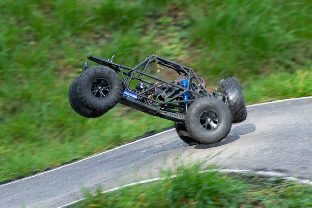 FTX Outlaw Ultra-4 Brushless Buggy Review landing on slope