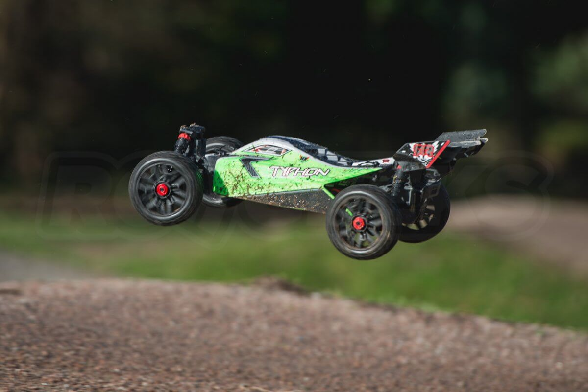 Arrma Typhon MEGA 4x4 Buggy in the air left
