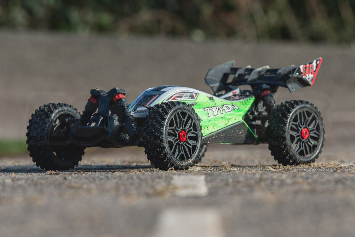 Arrma Typhon MEGA 4x4 Buggy on tarmac front left