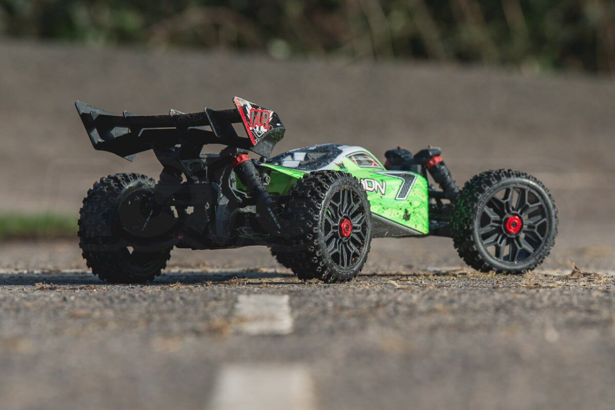 Arrma Typhon MEGA 4x4 Buggy on tarmac rear right