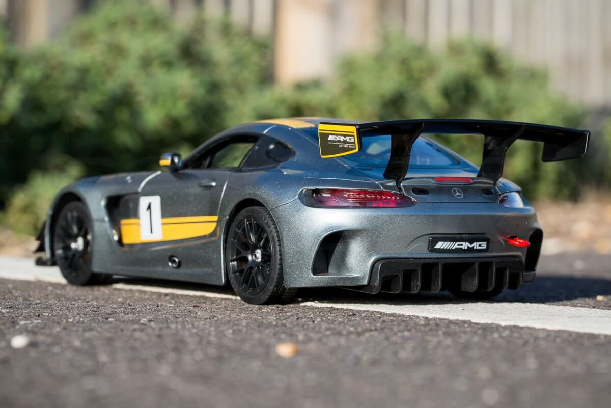 Rastar 14th Scale GT Racing cars review Mercedes AMG GT3 rear low three quarter