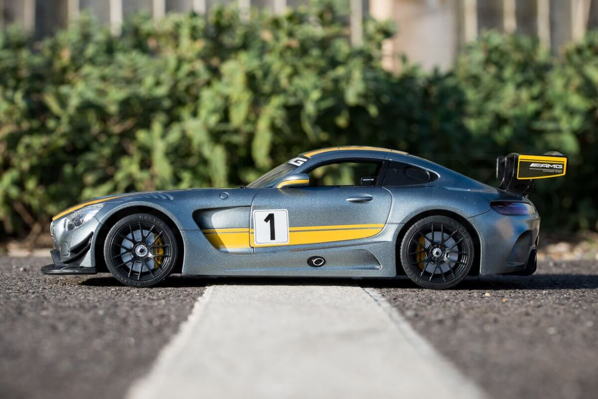 Rastar 14th Scale GT Racing cars review Mercedes AMG GT3 side low