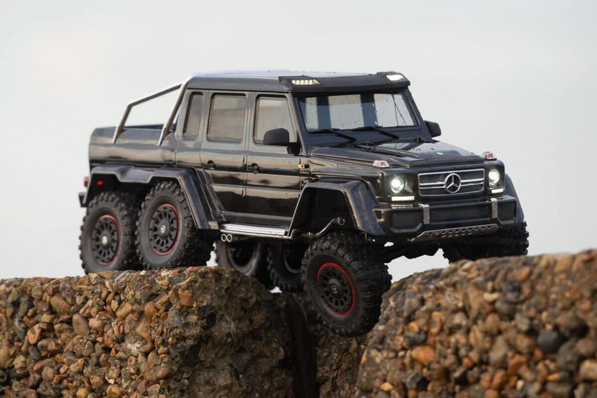 Traxxas TRX-6 Mercedes Benz G63 AMG Review posed articulation on stone