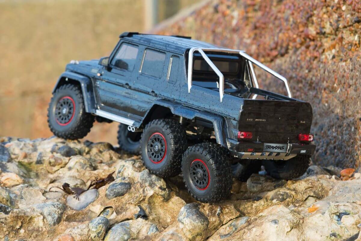 Traxxas TRX-6 Mercedes Benz G63 AMG Review rear three quarter climbing